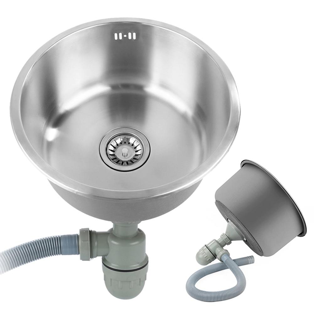 Évier de cuisine simple en acier inoxydable évier de cuisine simple fente plat bassin 41x41cmx20cm avec panier de vidange et tuyau de vidange - 4