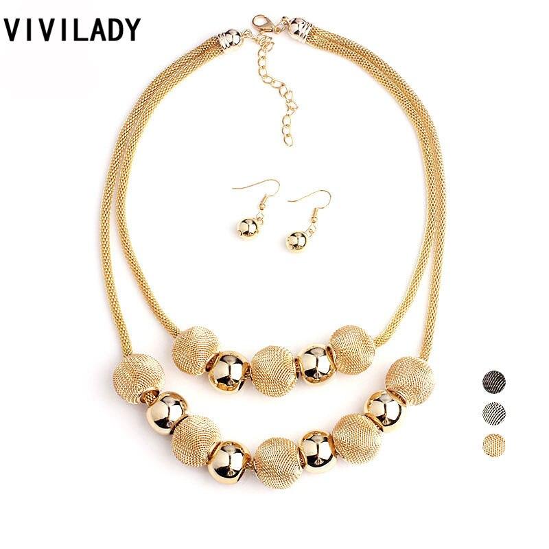 VIVILADY Fashion Handmade Net Beads Metal Layer Chain Jewelry Set