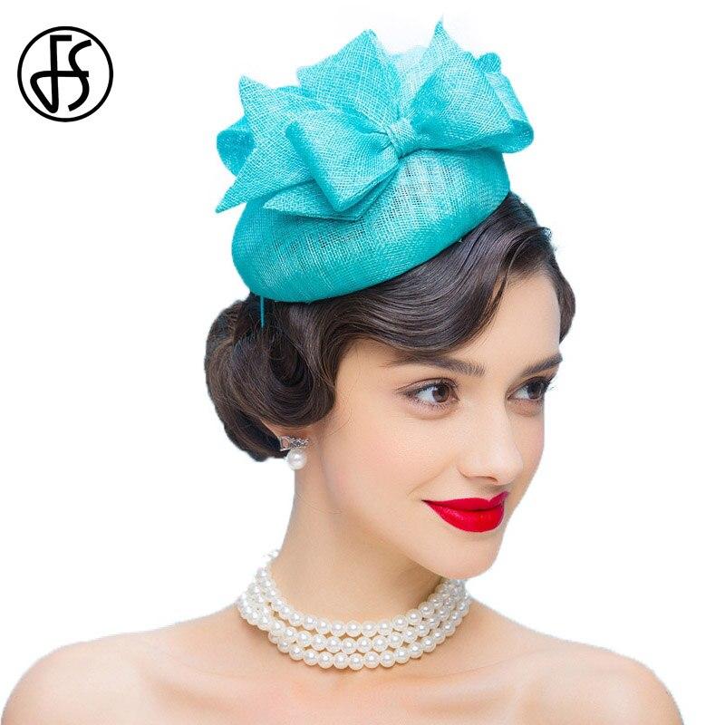 FS Fascinators Sky Blue Hochzeit Kleid Hüte Für Frauen Großen Bogen ...