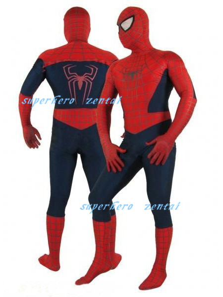 Blue And Red Spandex Spiderman costume fullbody halloween cosplay Zentai Suit spiderman superhero costume hot sale free shipping