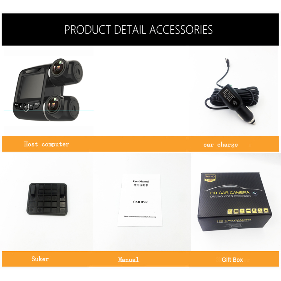 WHEXUNE mini Dashcam doble lente coche DVR Cámara Novatek 96663 grabadora de vídeo Full HD 1080P 2,0 pulgadas pantalla LCD super visión nocturna - 6