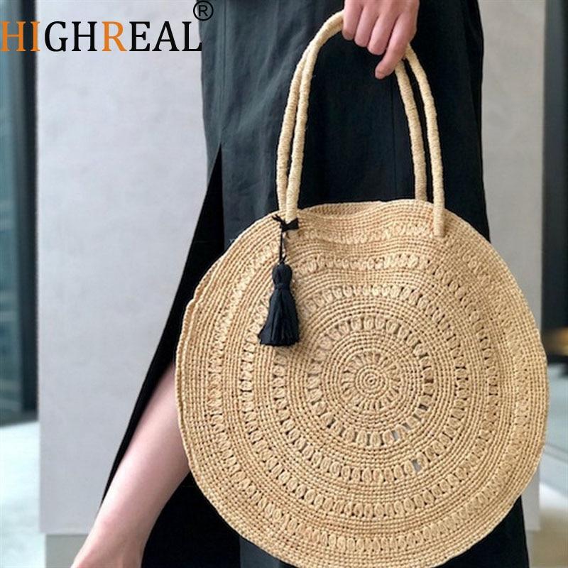 Newly Rattan Bag Plain Crossbody Beach Bag Knot Garden Style Round Straw Special Promotion Bags Women Big Tote Circle Handbag