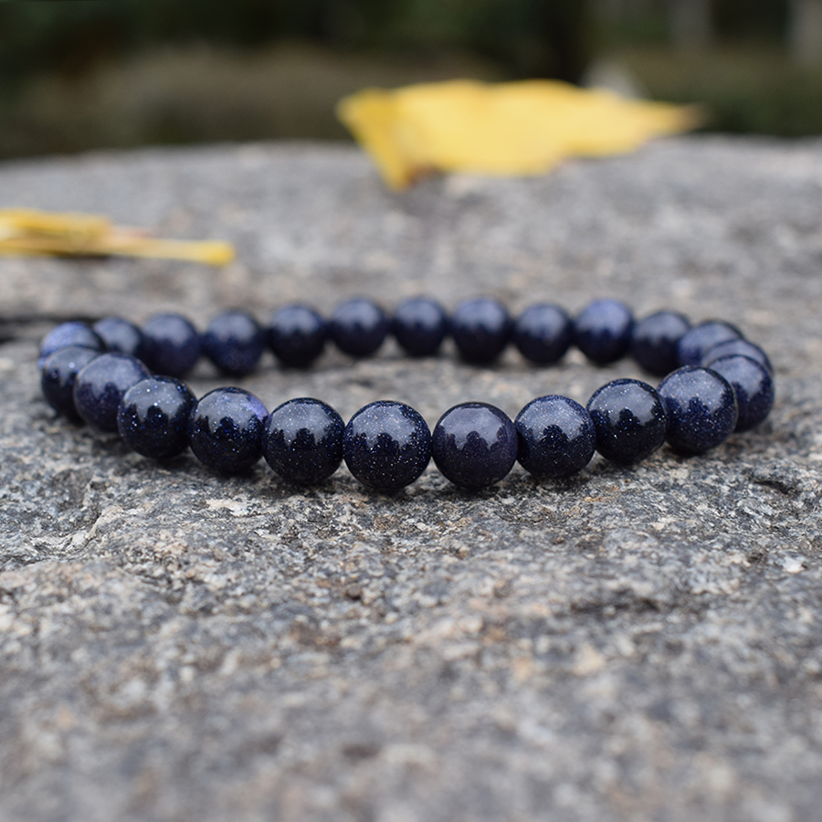 Fashion Blue Sandstone Beaded Bracelets for Women Natural Stones Handmade Strand Bracelets Semi precious Bead Woven Jewelry Gift in Charm Bracelets from Jewelry Accessories