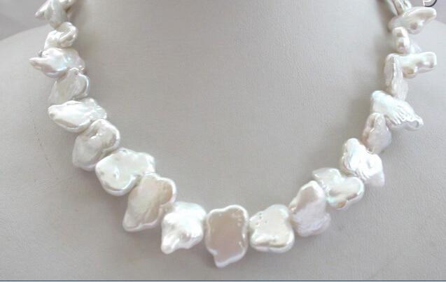 SHUPPING LIBRE >>>@@> N1568 superbe grand 16mm baroque papillon blanc perle d'eau douce collier