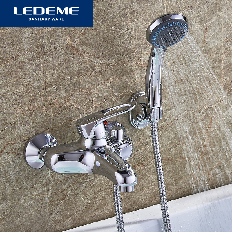 LEDEME Bathtub Faucet Brass Hot And Cold Bath Faucet Waterfall Bathroom Bathtub Faucets Shower Set With
