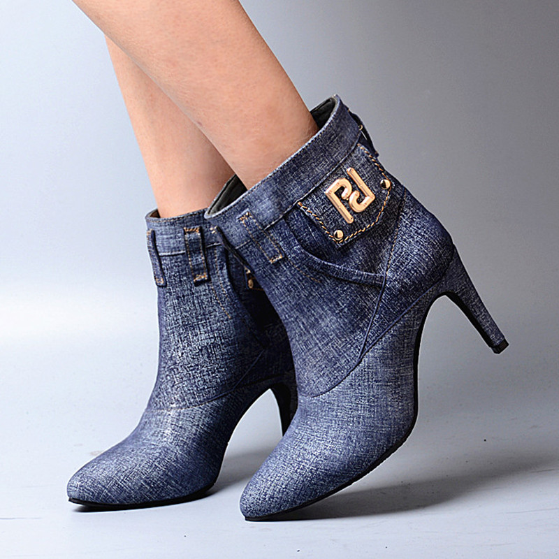 Pointu En Femme Euramerican Bottes Haut Perfetto Mince Style Talon Jeans On Blue Bout Cuir Patchwork Prova Slip Véritable We29IDYEH