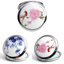 1* Make-up Mirrors China Painting Style MakeupTool Ceramic and Glass Mini Makeup Compact Pocket Mirror Cosmetic