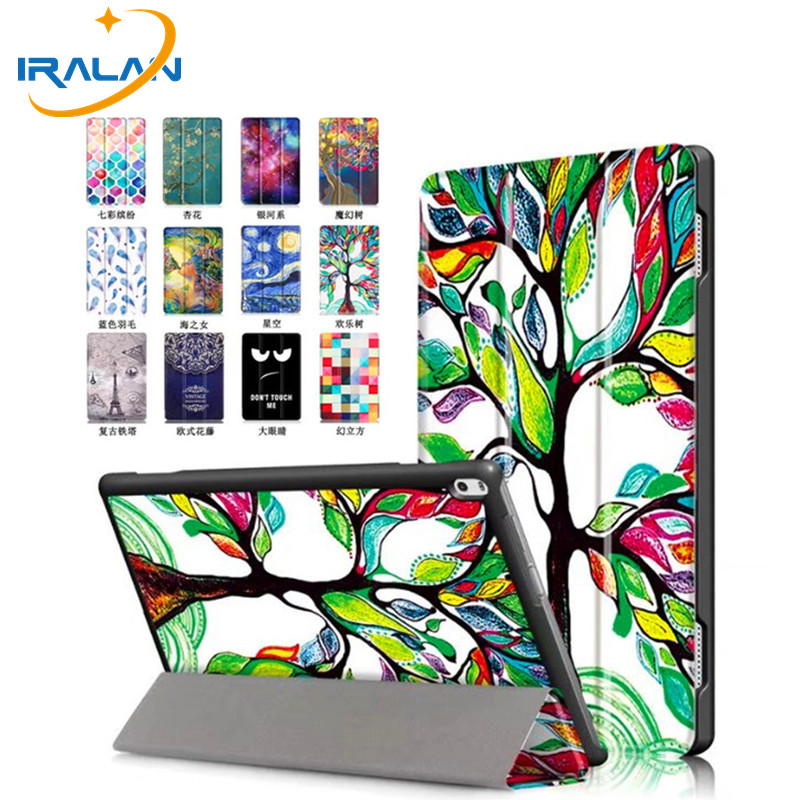 Hot Ultra Thin Print Folio Stand PU Leather Case For Lenovo TAB 4 10 Plus TB-X704F TB-X704N Smart Protective Cover+stylus+film