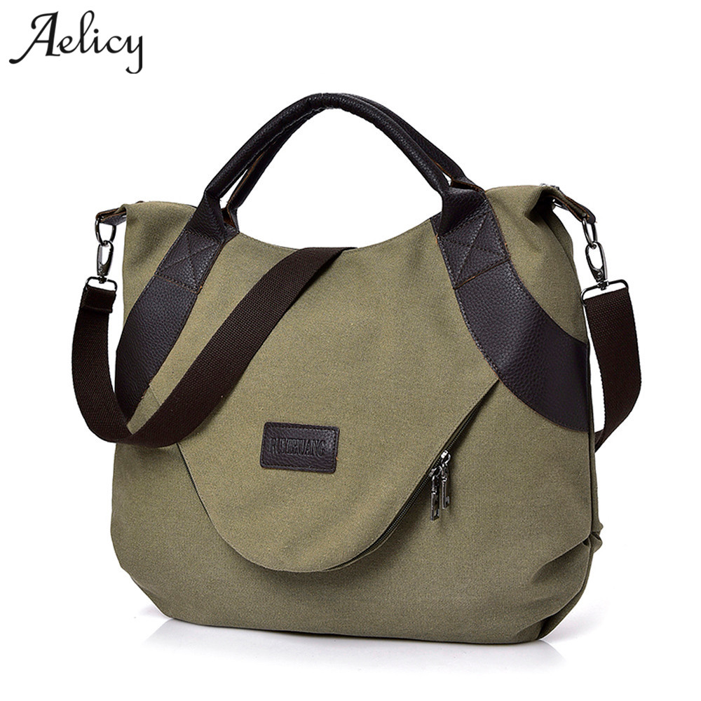 Aelicy nuevo verano mujeres lona cremallera estilo hombro playa bolso mujer Casual bolso de compras Bolso grande mensajero bolsas