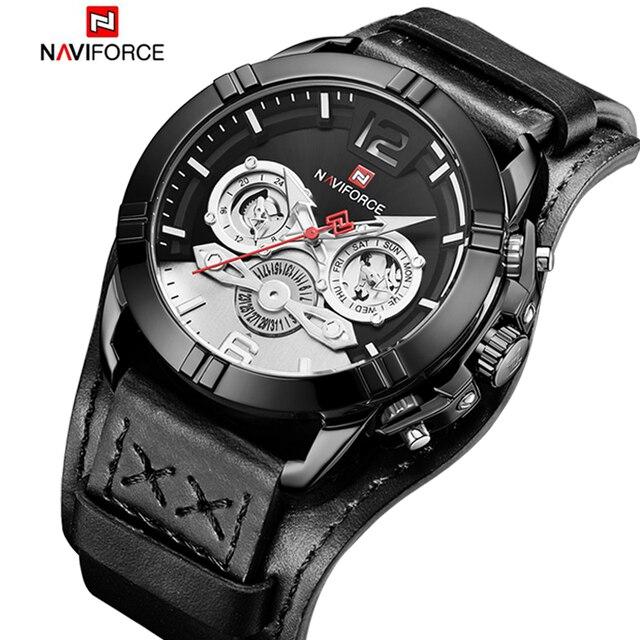 Nieuwe NAVIFORCE Top Brand Men Casual Quartz Horloge Heren Lichtgevende Outdoor Sport Horloges Militaire Leer Waterdicht Mannelijke Klok