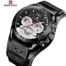 Nuevo reloj de cuarzo informal de marca NAVIFORCE para hombre, relojes de pulsera luminosos para deportes al aire libre, reloj militar de cuero resistente al agua para hombre