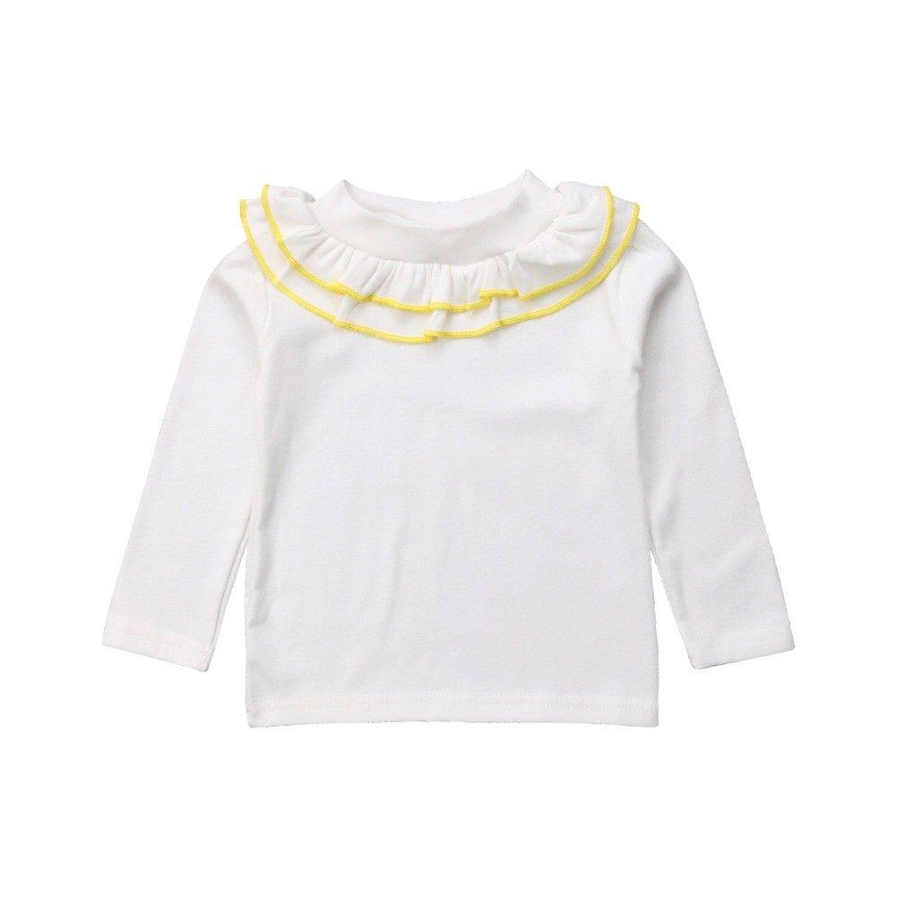 1-4y Kleinkind Baby Mädchen Casual Schöne Herbst Sweatshirt Tops Langarm Rüschen Solide Weiß Pullover Tops