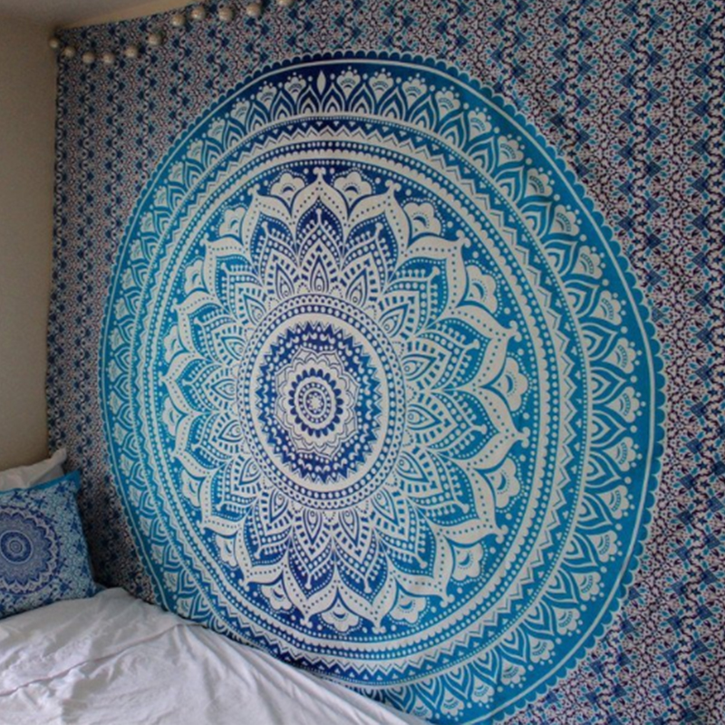 4Rissa Blue Ombr/é Hippie Indian Mandala Round Roundie Beach Towel Fringe Throw Rug Boho Tapestry Yoga Mat Tablecloth