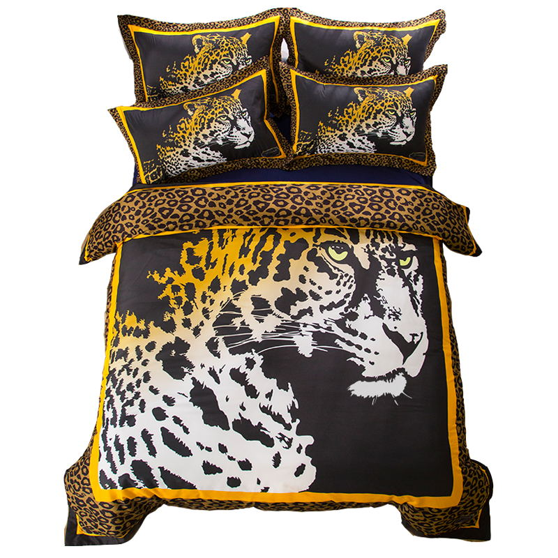 US $61.64 33% OFF|Animal Leopard Print Bedding Set Twin Queen King Size  Duvet Cover Cotton Bed Sheet Pillowcase for Bedroom Adults-in Bedding Sets  ...
