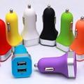 500 pcs Colorido Mini 2.1A 1A Dupla USB Carregador de Carro para Celular tablet adaptador de carregador de iphone 5s 6 samsung htc lg sony fosco