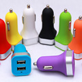 500pcs Colorful Mini Dual USB Car Charger 2.1A 1A for Cellphone Tablet iphone 5s 6 Samsung HTC LG Sony Frosted  Charger Adapter