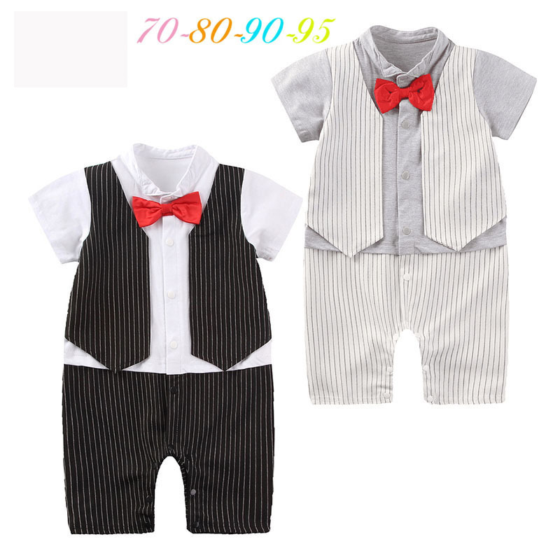 Short Sleeve Baby Boy Clothes Bebe Rompers Jumpsuits Striped Cow Disfraces Infantiles Boy Gentleman Suits Hundred Days Costume
