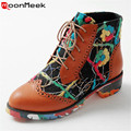 Dazzle colour new fashion square low heels women shoes lace up paltform leisure autumn boots college camouflage ankle boots