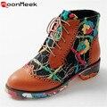 Dazzle cor nova moda quadrados saltos baixos mulheres sapatos lace up botas paltform outono lazer faculdade camuflagem botas de tornozelo