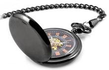 Roman Retro Vintage Antique Steampunk Mechanical Pocket Watch Black Men  Necklace Pendant Gift Women