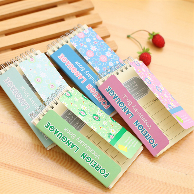 1 Unids/set 13 cm * 7.5 cm Kawaii Inglés de word en blanco tarjetas portátil pequeño bloc de notas cuaderno Inglés manual de capacitación