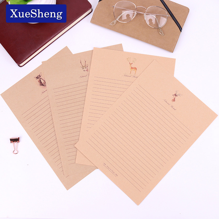10 Sheets Small Deer Kraft Paper Letter Paper 4 Style Cute Vintage Letter Paper Stationary Paper For Card Scrapbooking Gift