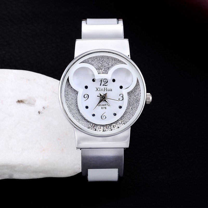XIRHUA Women Watches Mickey Bracelet Rhinestone Wristwatches Fashion Ladies Watches Clock Women Watch montre femme saat relojes встраиваемый светильник novotech pearl round 369441