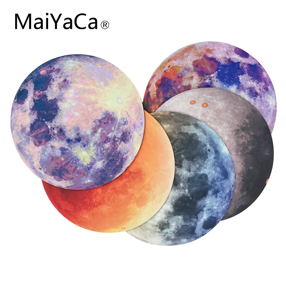 MaiYaCa Moon New Small Size Round Mouse Pad Non-Skid Rubber Pad maiyaca rainbow pastel watercolor moroccan pattern prints mouse pad small size round gaming non skid rubber pad