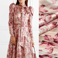 143CM Wide 190G/M Weight Pink Floral Print Polyester Chiffon Fabric for Spring and Summer Dress Shirt Jacket DE994