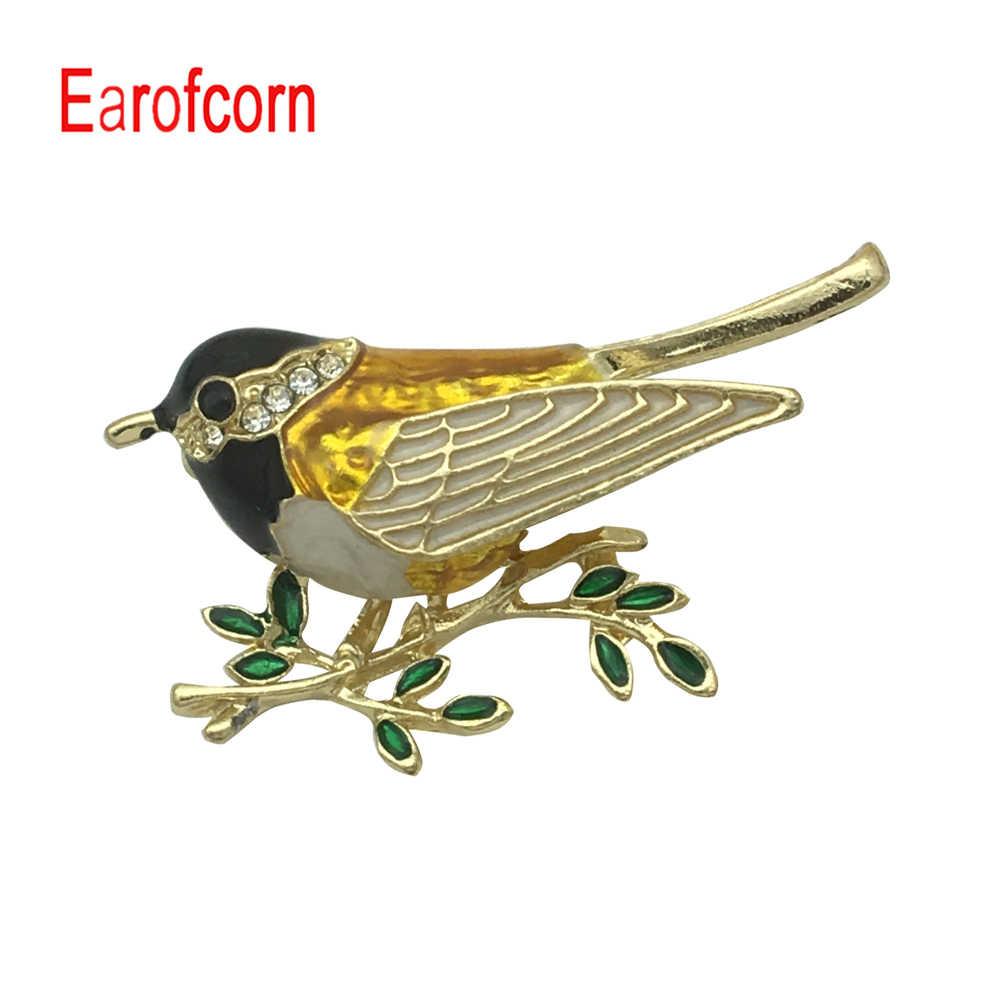 Earofcorn Trendi Magpie Cabang Pohon Gambar Bros Burung Lucu Kreatif Retro Unisex Cocok Kerah Pin Gesper Aksesoris