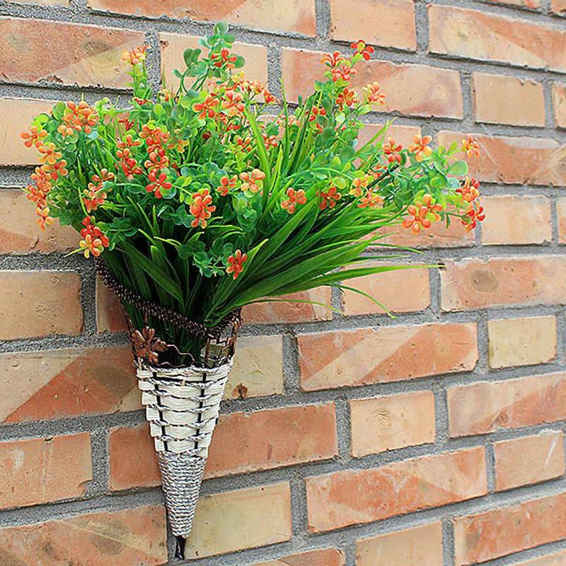 WHISM Cone Forma de Flor de Ferro Vasos De Flores De Parede De Vime Cesta de Vime Cesta de Suspensão De Parede Falso da Videira Da Flor Vasos de Jardim de Casa Loja decoração