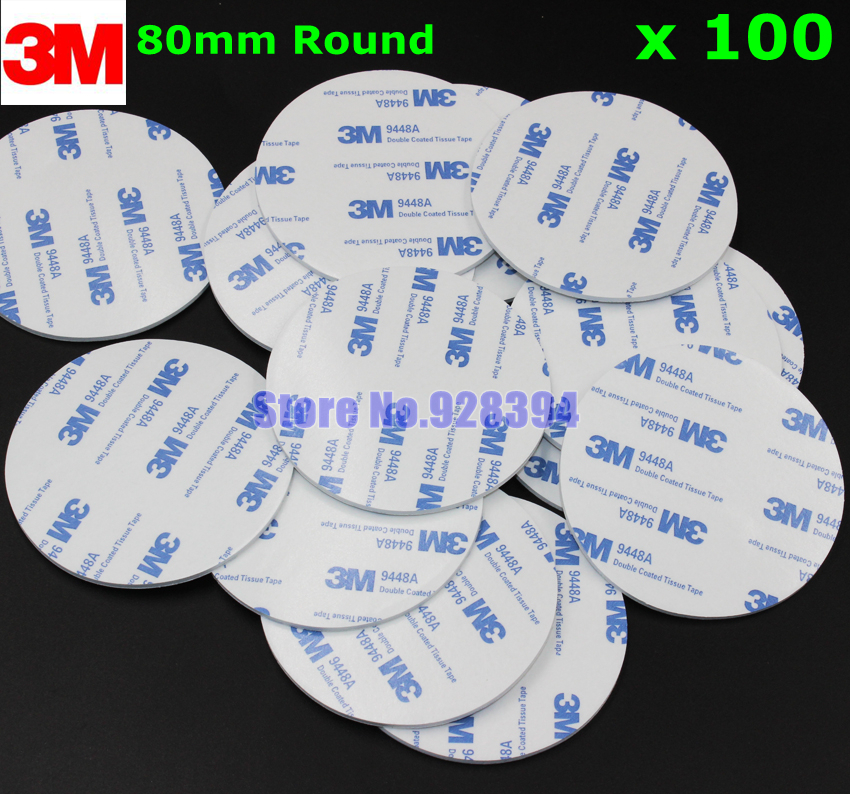 100pcs 80mm Round 3M 9448A White Double Sided EVA Foam Tape Pad Mounting Tape Auto Car