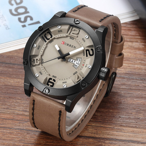 CURREN Fashion Creative Design Leather Strap Quartz Men Watches Display Date and Week Waterproof Wrist Watch Relogio Masculino Islamabad