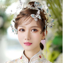 Himstory Elegance Handmade Gold Hair Vine Bridal Wedding Accessories Jewelry Butterfly Hairbands