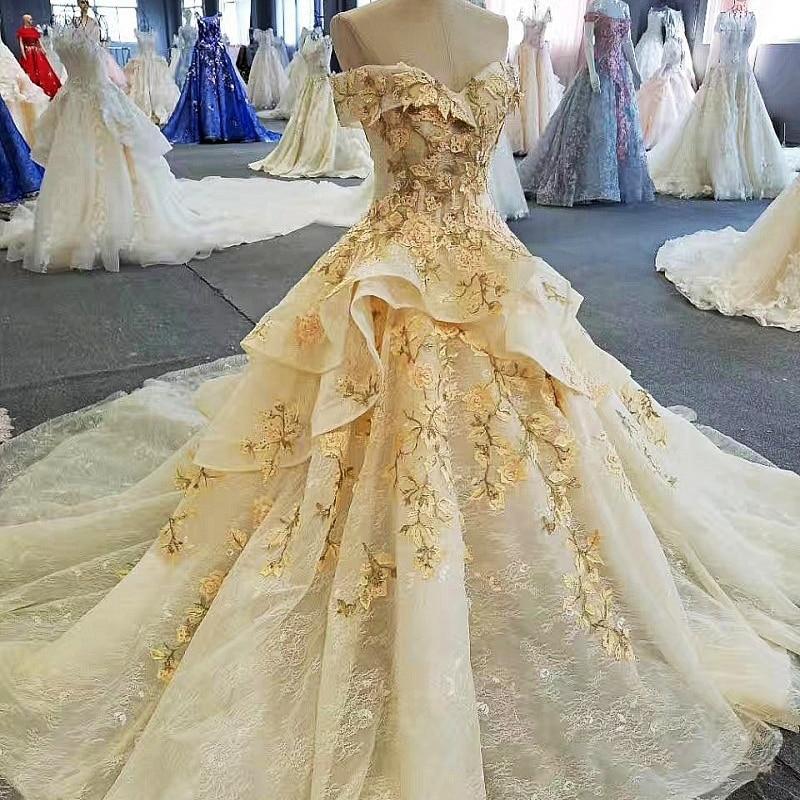 2018 New Fashion Yellow Flowers Lace Beading Gowns Tiered Long Evening Dresses Vestidos De Festa Vestido Longo Para Casamento