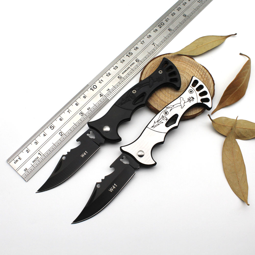 Portable Folding Camping Knife Tactical Rescue Survival Hunting Knife Stainless steel handle Outdoor Survival EDC Hand Tools