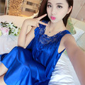 Sleepwear Summer style Solid Temperament Sexy Silk Nightdress Woman Lace Pijamas Girl Summer dressTemptation M-2XL nightshirt