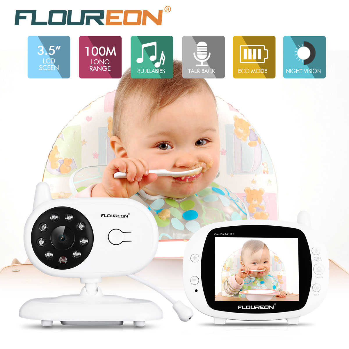 10e57b32eac5 Detail Feedback Questions about FLOUREON 3.5   Digital Wireless Baby Monitor  LCD Display Video Nanny Security Camera Temperature 2 Way Talk Night Vision  on ...