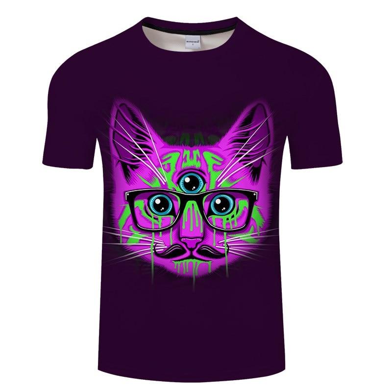 Черная футболка с 3D принтом кота для мужчин и женщин, летняя повседневная футболка с коротким рукавом и круглым вырезом, Топы И Футболки, Забавные футболки, Азиатские размеры S-6XL - Цвет: TXKH3134