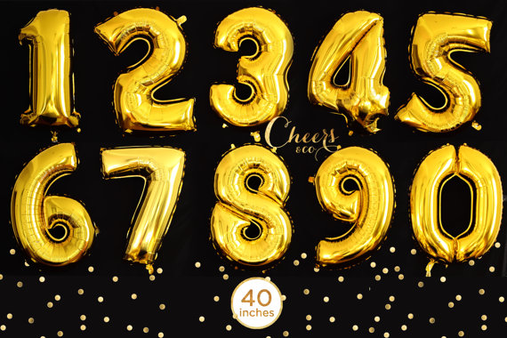 """YELLOW LARGE 40/"""" NUMBER FOIL BALLOON HAPPY BIRTHDAY PARTY HELIUM 0-9 WEDDING"""