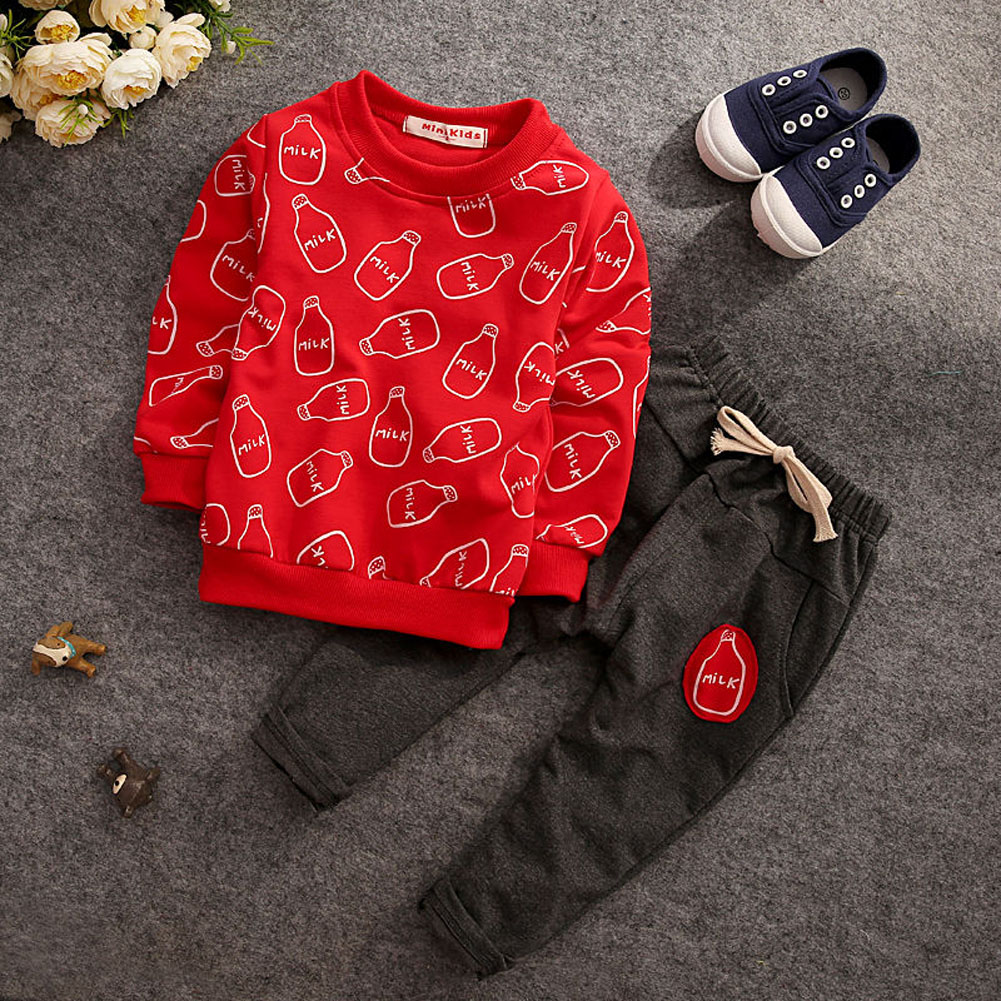 2pcs New Year Suit Children Clothing Outfits for Boys Clothes Set Long Sleeve Tops Pants Baby Winter Sets baby nightwear pajama suit for children pajamas for boys with long sleeve kids pjs sleepwear set children s clothing 1 2 4 year