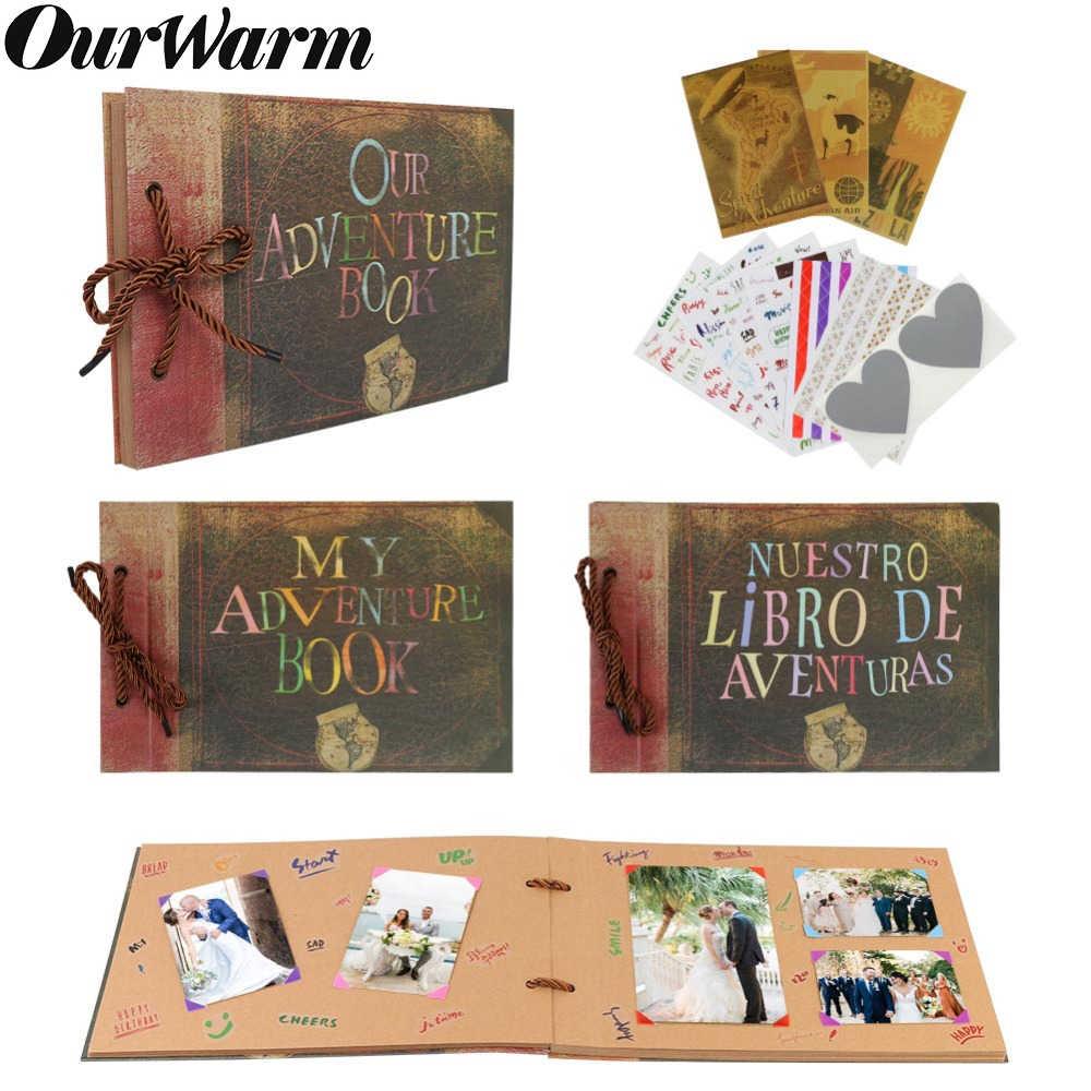 OurWarm Our Adventure Book DIY Photo Album Scrapbook My Adventure Movie Fotografico Traveling Wedding Kids Album Gifts 80 Pages