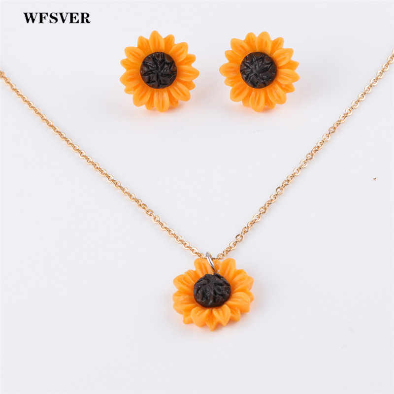 WFSVER 1set 15/18/25mm resin sunflower jewelry set stainless steel chain sunflower necklace&stud earring for women jewelry