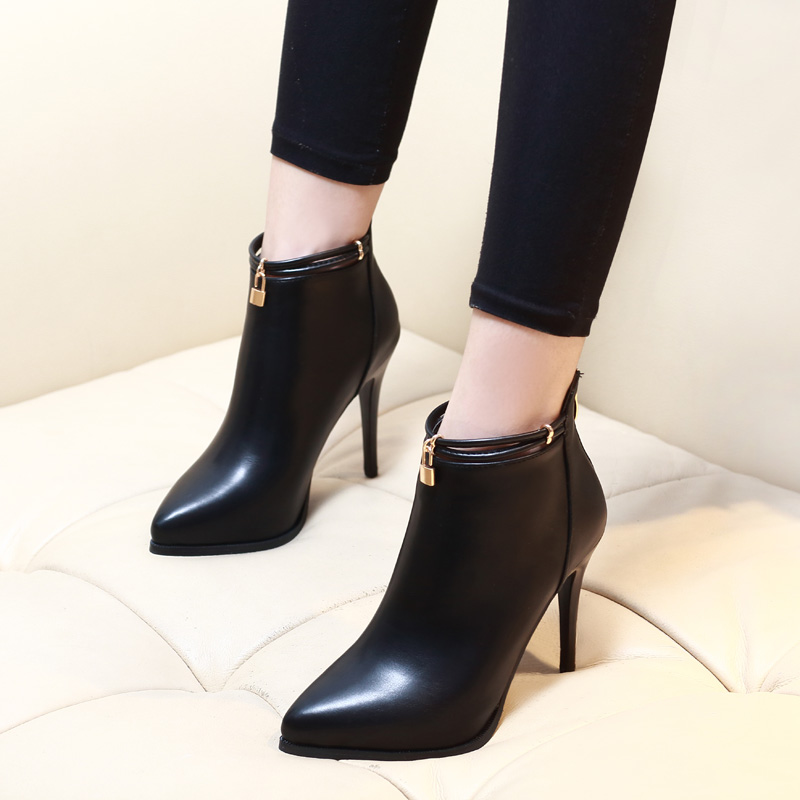 2017 Pointed Toe Sexy High Heels Ankle Boots For Women Autumn Spring Fashion Party Dress Thin Heel Short Boots Shoes CH A0010