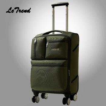 385205e90de1 Letrend Для мужчин Бизнес Оксфорд прокатки Спиннер для багажа чемодан с колесами  тележки 20 дюймов студент нести на коробке Для женщин 24 дюймов .