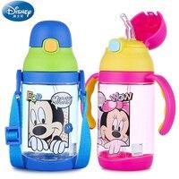 Disney 400 ml Garrafas De Plástico para Crianças Bebê Palha Vazamento-poof Anti Queda de Água Chaleiras Aprender Garrafas de Água Potável