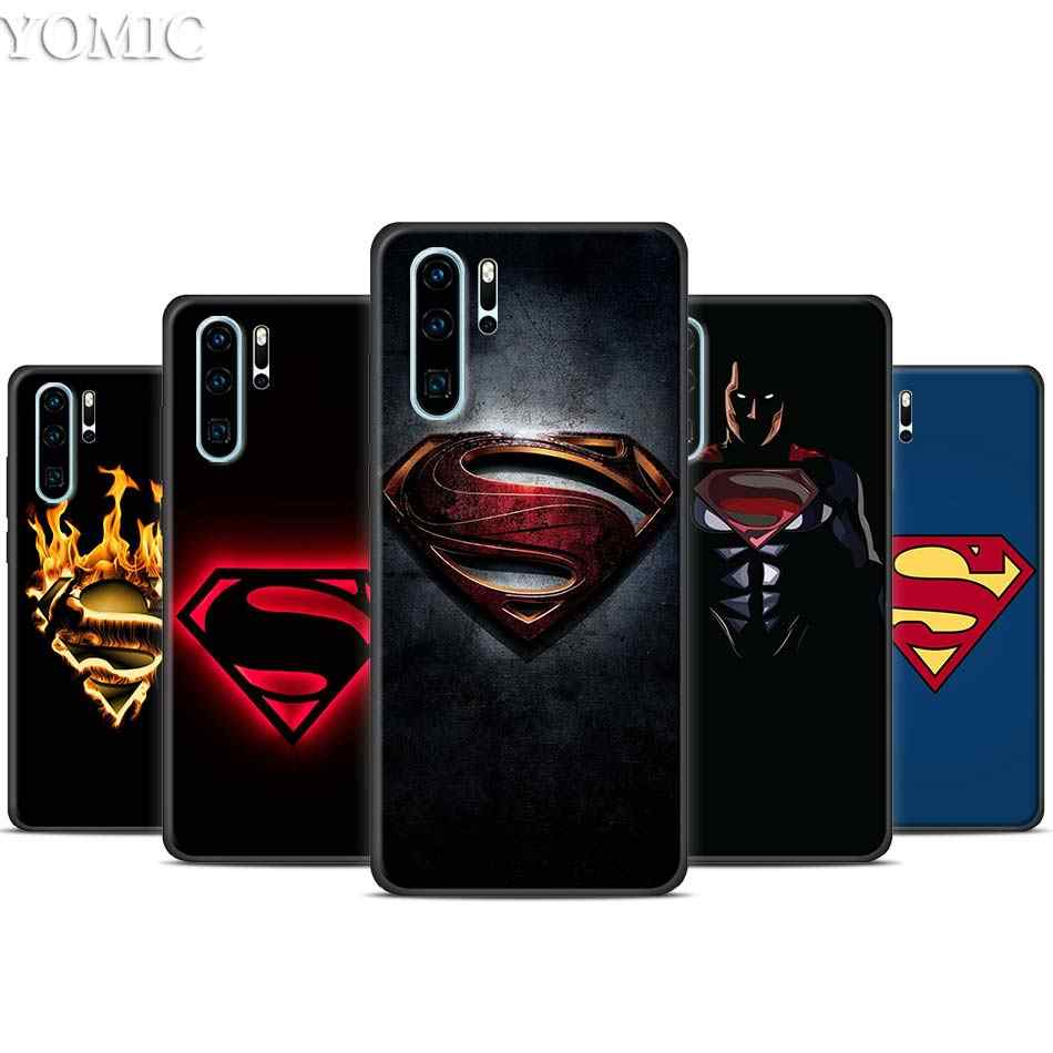 Marvel Superman Logo Hitam untuk Huawei P30 20 Pro P10 P20 P30 Lite Mate 10 20 Lite P Smart plus
