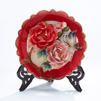Peony Ceramic Decorative Plate Wall Hanging Wall Decorative Wall Decoration Wall Decoration Handicraft