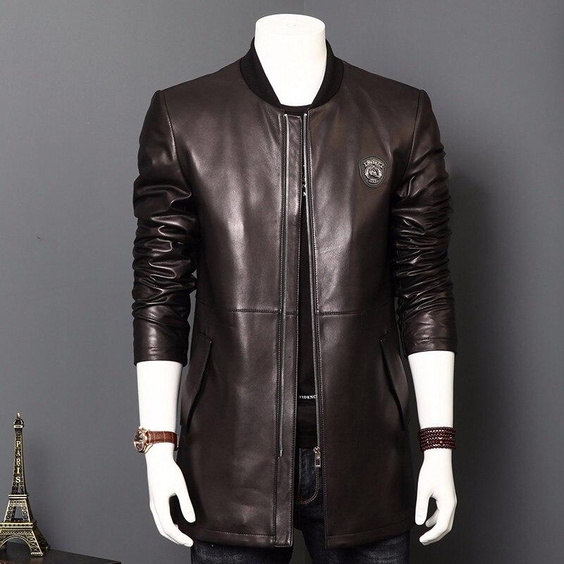 Ptslan 2017 Men's Genuine Leather Jacket Real Lambskin Coat