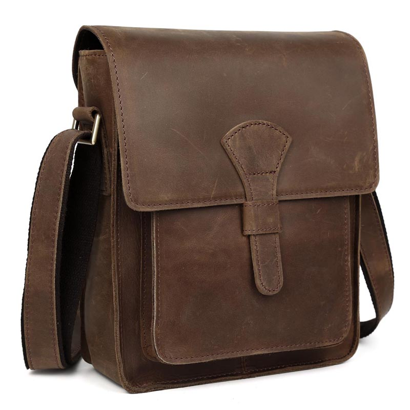 TIDING Men Genuine leather cross body bag vintage style shoulder bag for iPad crazy horse leather small bag 11124